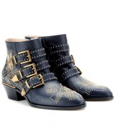 Chloé, Susanna Studded Buckled Leather Ankle Boot