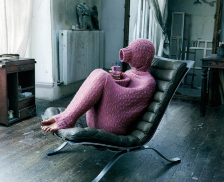 iiiinspired _ bibop.tumblr _ ibelieveinadv.com _ Henkel Mir Wool, Pink ad, full body sweater